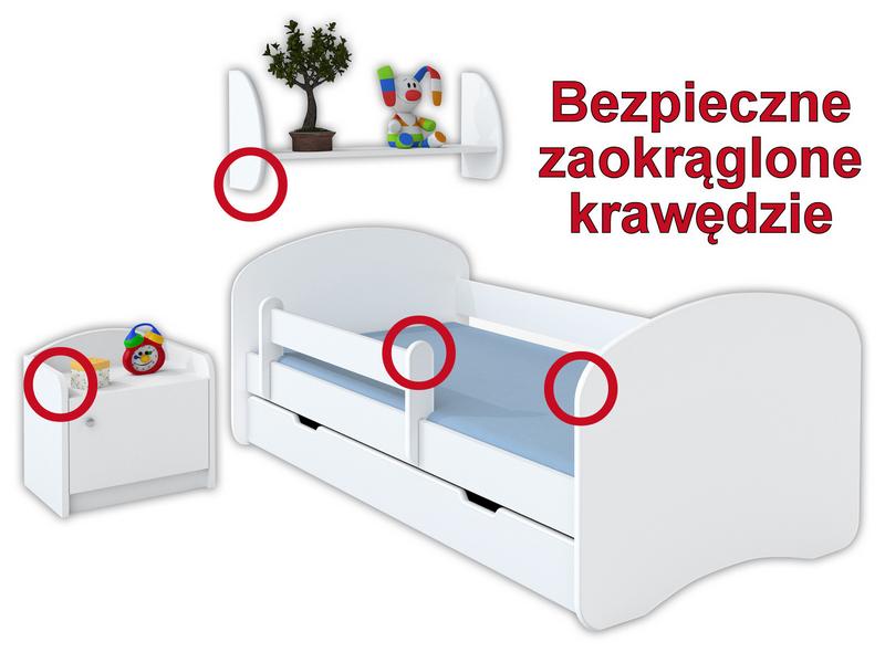 Łóżko dziecięce HAPPY 180x90 z szufladą i materacem – białe na Arena.pl