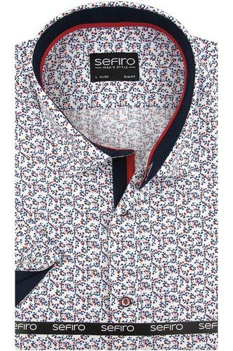 Duża Koszula Męska Sefiro biała w granatowe kwiatki na krótki rękaw Duże rozmiary K825 6XL 50 182/188 na Arena.pl