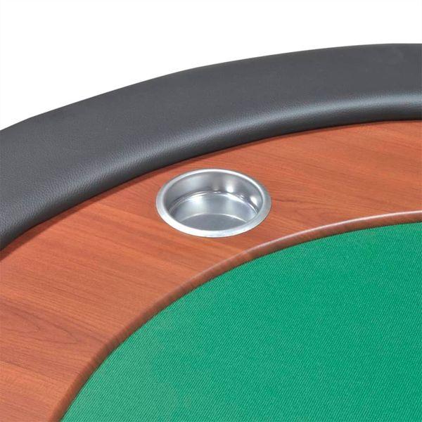 Stół do pokera dla 10 graczy z tacą na żetony, zielony zdjęcie 8