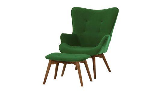 Fotel z podnóżkiem Ducon Velvet-Kronos 14-ciemny dąb