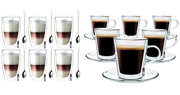 Szklanki z Podwójną Ścianką do Kawy Herbaty Lungo i Latte 12 sztuk