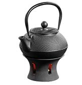 Żeliwny imbryk do parzenia herbaty z podgrzewaczem