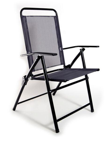 Krzesło Ogrodowe Składane Regulowane 1049 Black Czarne