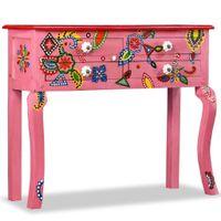 Stolik konsola, drewno mango, różowy, ręcznie malowany