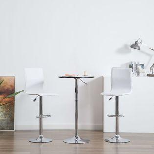 Krzesła barowe, 2 szt., sztuczna skóra, białe