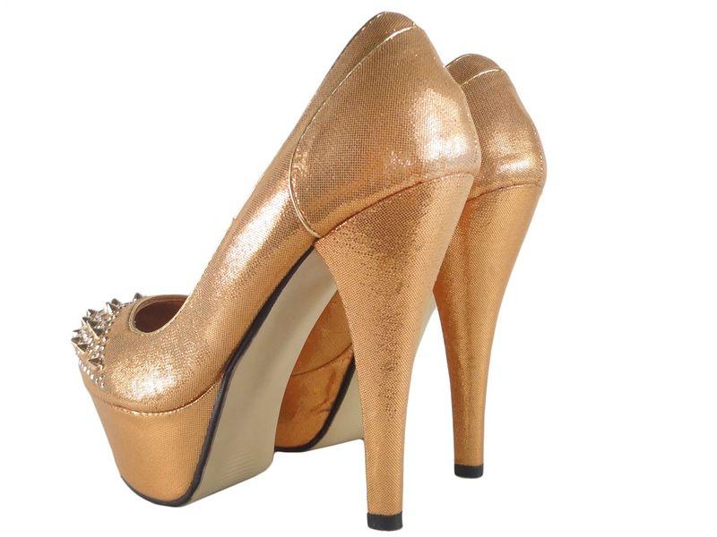 Buty na platformie z kolcami złote czółenka 39 zdjęcie 4