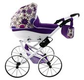 DUŻY Solidny POLSKI Wózek dla lalek lalkowy RETRO Metalowe koła zdjęcie 5