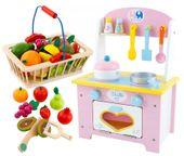 Kuchnia Drewniana Dla Dzieci Garnki Akcesoria Owoce Magnetyczne U46U zdjęcie 14