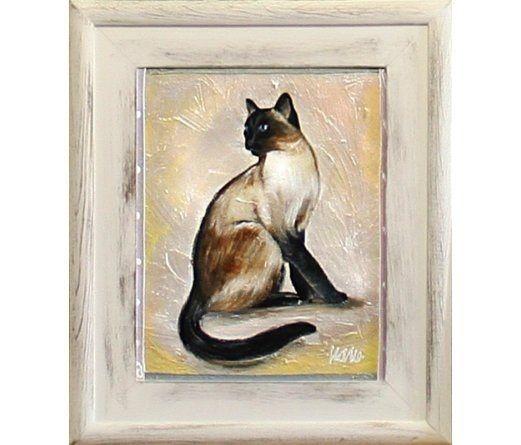 Obraz 27x32cm Kot Syjamski Ręcznie Malowany Arenapl
