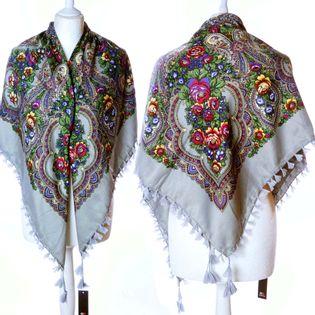 Piękna chusta apaszka wzór folkowy Kwiaty etniczna