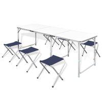 Lumarko Zestaw turystyczny: stół i 6 stołków, regulacja wysokości