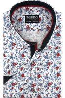 Duża Koszula Męska Sefiro biała w czerwone kwiatki na krótki rękaw Duże rozmiary K896 10XL 54 182/188