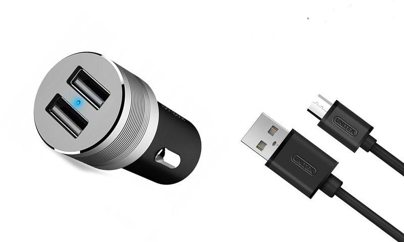 ROCK Ładowarka Samochodowa 2x USB 2,4A KABEL MICRO
