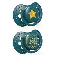 LOVI Smoczek silikonowy dynamiczny 0-3m 2 szt Stardust green,