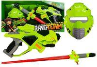 Broń Kosmiczna z mieczem i maską gra świeci Zielona