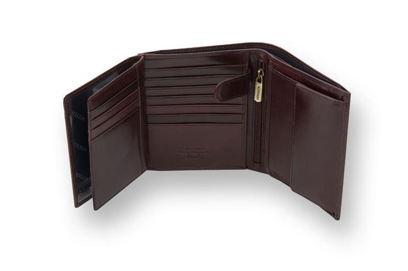 Duży, brązowy, skórzany portfel Wittchen, RFID, kolekcja: Italy zdjęcie 5