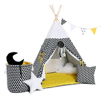 Namiot tipi dla dzieci, bawełna, okienko, mega zestaw, kultowy promyk