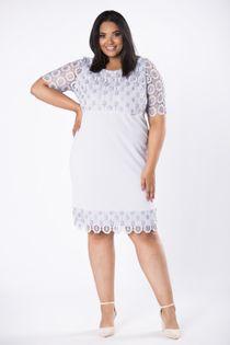 Dopasowana sukienka z gipiurową wstawką na górze - Szary 44
