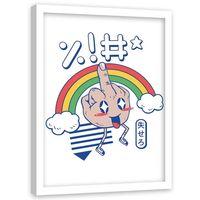Plakat dekoracyjny w ramie białej, Wulgarny gest anime 50x70