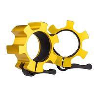 Zaciski szczękowe 2 szt na gryf aluminiowe szer 38mm śr 50mm złote siłownia talerze ABI