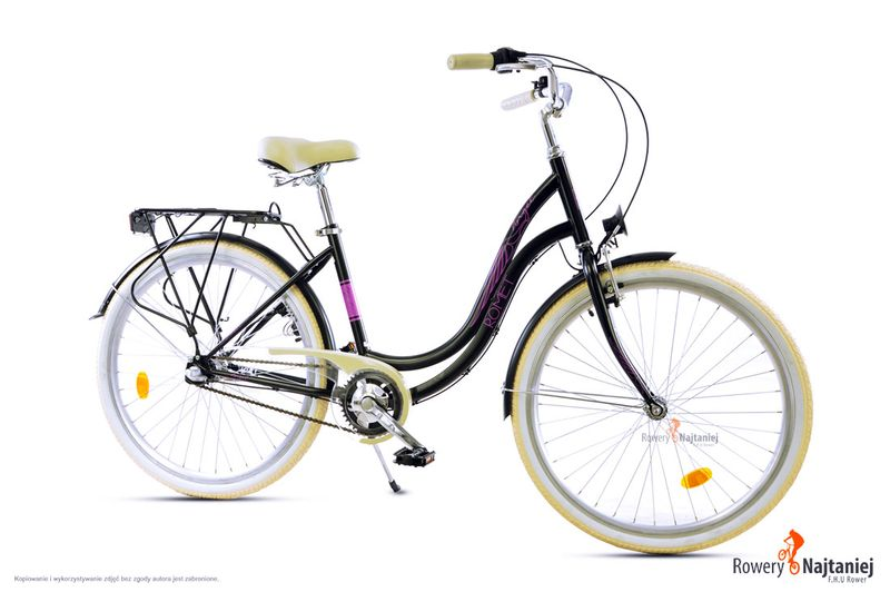 Damski Rower Miejski 26 Romet Angel 3 Czarny Rama 17 Kosz Hit