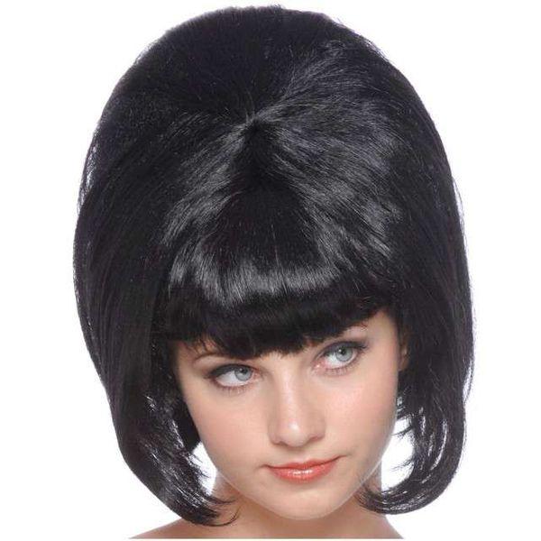 Peruka Lisa Czarne Włosy Długie Lata 60 Disco