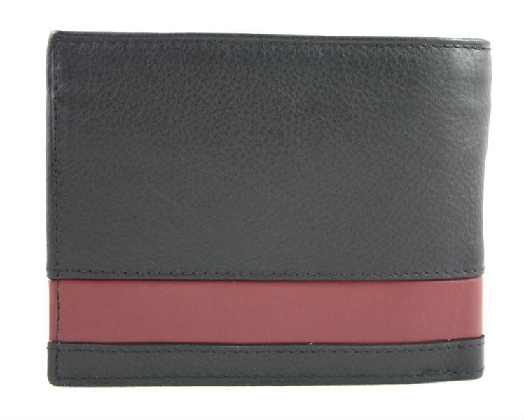 bb008f7a68130 Skórzany portfel męski Pierre Cardin RFID czarny z bordową wstawką zdjęcie 3