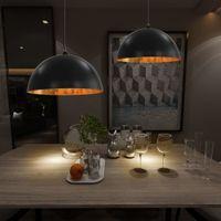 Lampy Sufitowe, 2 Szt., Czarno-Złote, Półkoliste, 50 Cm, E27