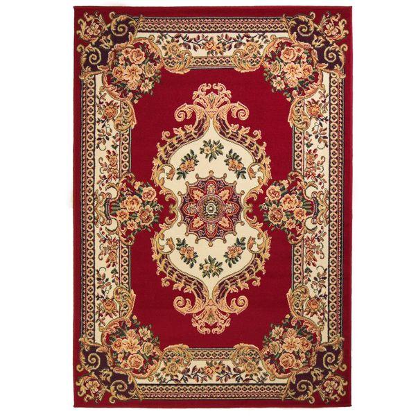 Orientalny Dywan Perski Wzór 140 X 200 Cm Czerwono Beżowy