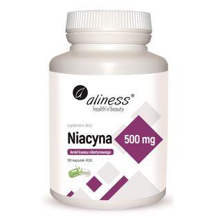 Niacyna Amid kwasu nikotynowego witamina B3 500mg 100 kapsułek Aliness