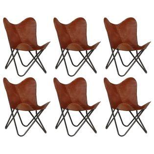 Lumarko Krzesła typu motyl, 6 szt., brązowe, dziecięce, skóra naturalna