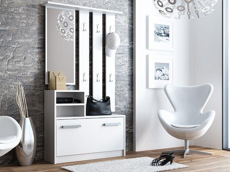 Garderoba wieszak lustro szafka na buty / biały zdjęcie 3
