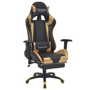 Regulowane krzesło biurowe, kubełkowe z podnóżkiem, złote