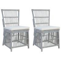 Krzesła Z Poduszkami, 2 Szt., Szare, Naturalny Rattan