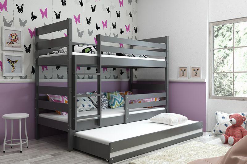 Łóżko piętrowe trzyosobowe Eryk 190x80 dla dzieci dziecięce + STELAŻ zdjęcie 9