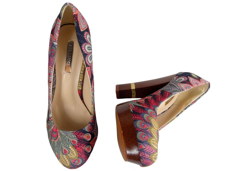 Szpilki na platformie buty na słupku kolorowe 38 zdjęcie 2