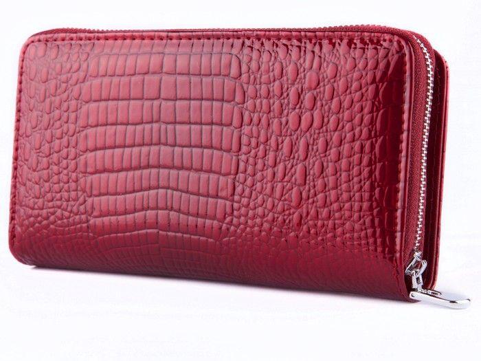 Jennifer Jones portfel Skórzany damski Duży Lakierowany na suwak E72 zdjęcie 4