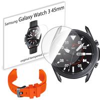 Pasek sportowy opaska i szkło hartowane do Samsung Galaxy Watch 3 45mm pomarańczowy