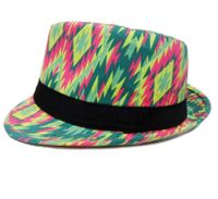 Kapelusz trilby Aloha Hawaii we wzory, r. 57-58 zielony