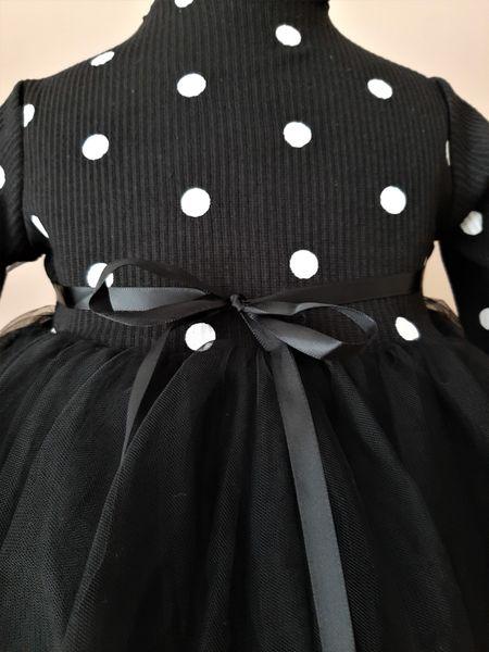 Puszysta CZARNA sukienka w Kropki z Tiulem 92/98 zdjęcie 4