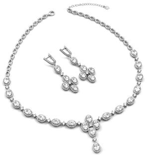 Elegancki komplet srebrny Markiza