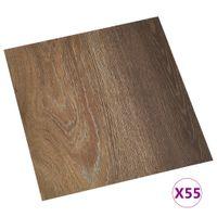 Samoprzylepne panele podłogowe, 55 szt., PVC, 5,11 m², brązowe