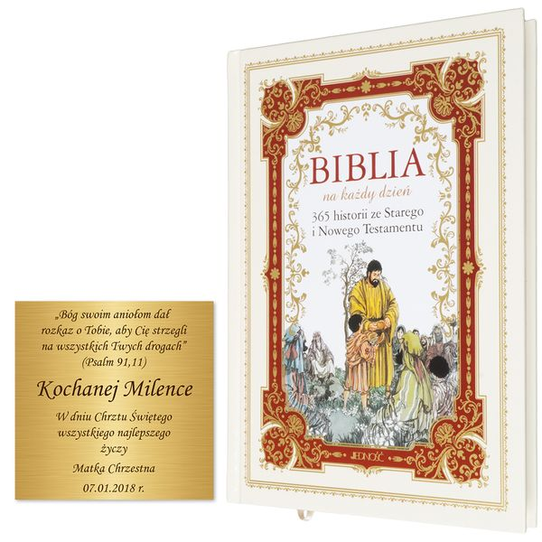 BIBLIA DLA DZIECI 365 HISTORII z grawerem PAMIĄTKA CHRZTU KOMUNII zdjęcie 2