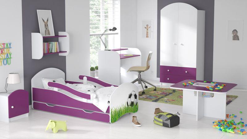 Łóżko dziecięce łóżeczko 140x70 biały / fiolet szuflada materac zdjęcie 18