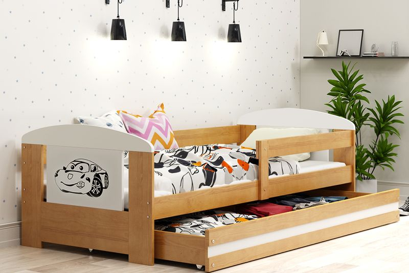 łóżko Pojedyncze Filip 160x80 Dla Dzieci Szuflada Barierka