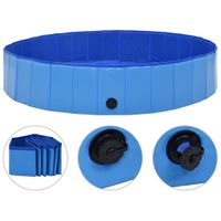 VidaXL Składany basen dla psa, niebieski, 160 x 30 cm, PVC