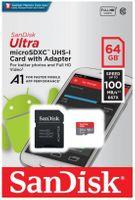 Karta pamięci microSDXC SanDisk ULTRA ANDROID 64GB 100MB/s A1 Class 10 UHS-I + adapter