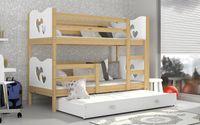 Łóżko piętrowe MAX 3 osobowe 190x80  szuflada + materace