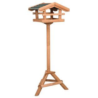 Karmnik dla ptaków na słupku, drewno jodłowe