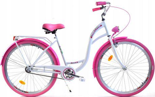 """Rower Dallas City 26"""" 1spd - biały z różem"""